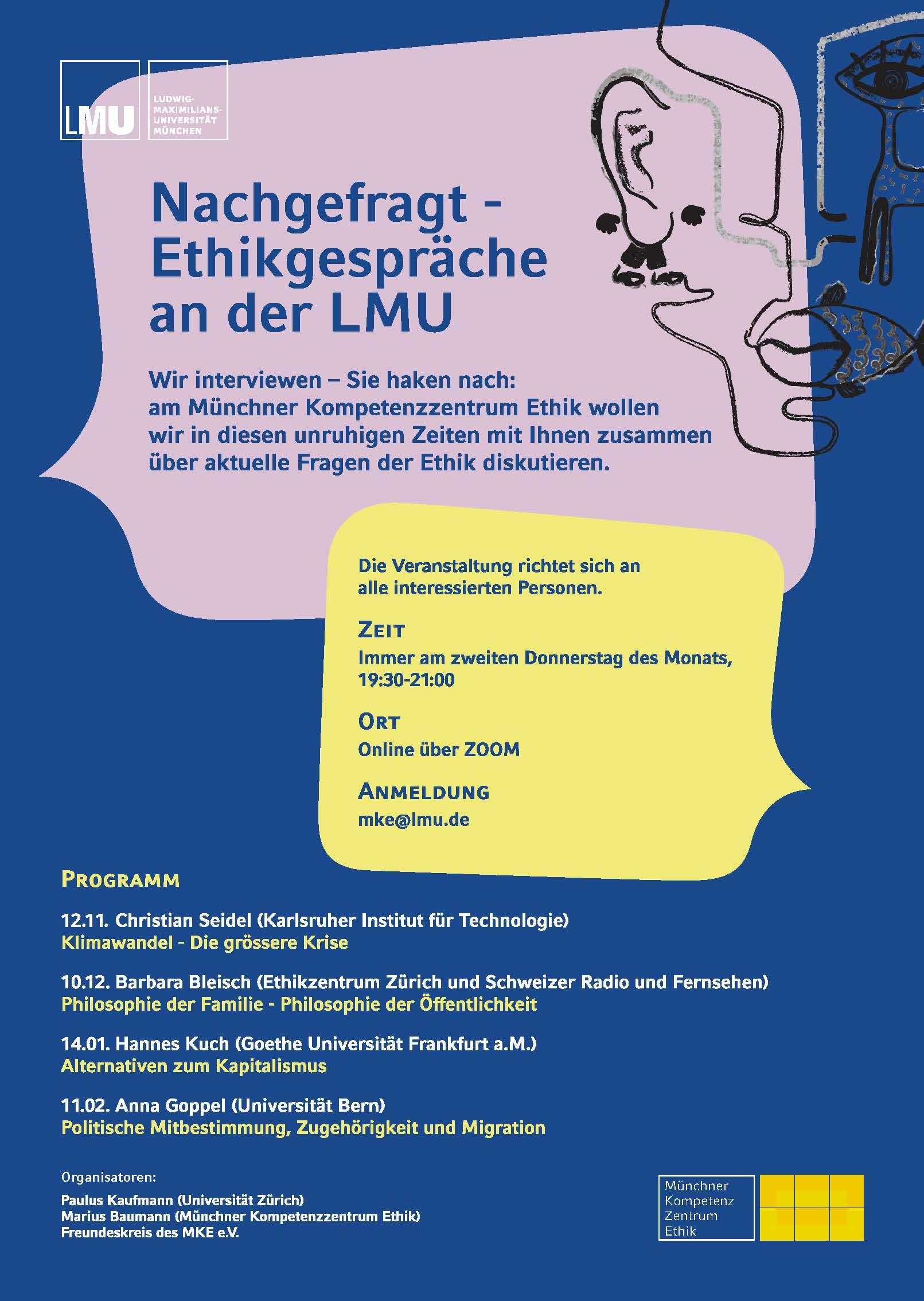 Plakat Ethikgespraeche Hintergrund blau